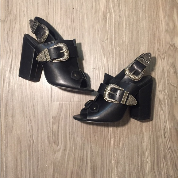 b35ab2beb2 Missguided Shoes   Misguided Black Mule Heels With Buckles Size 6 ...